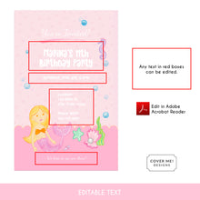 Load image into Gallery viewer, pink mermaid kids birthday invitation printable and editable text digital download