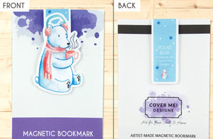 polar bear in earmuffs and scarf drinking cocoa cute magnetic bookmark front and back
