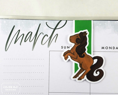 brown rearing pony cute magnetic bookmark on planner
