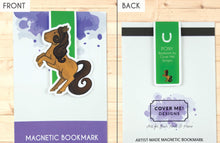 Load image into Gallery viewer, brown rearing pony cute magnetic bookmark front and back