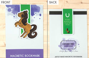brown rearing pony cute magnetic bookmark front and back