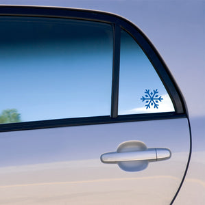 snowflake vinyl decal on car window