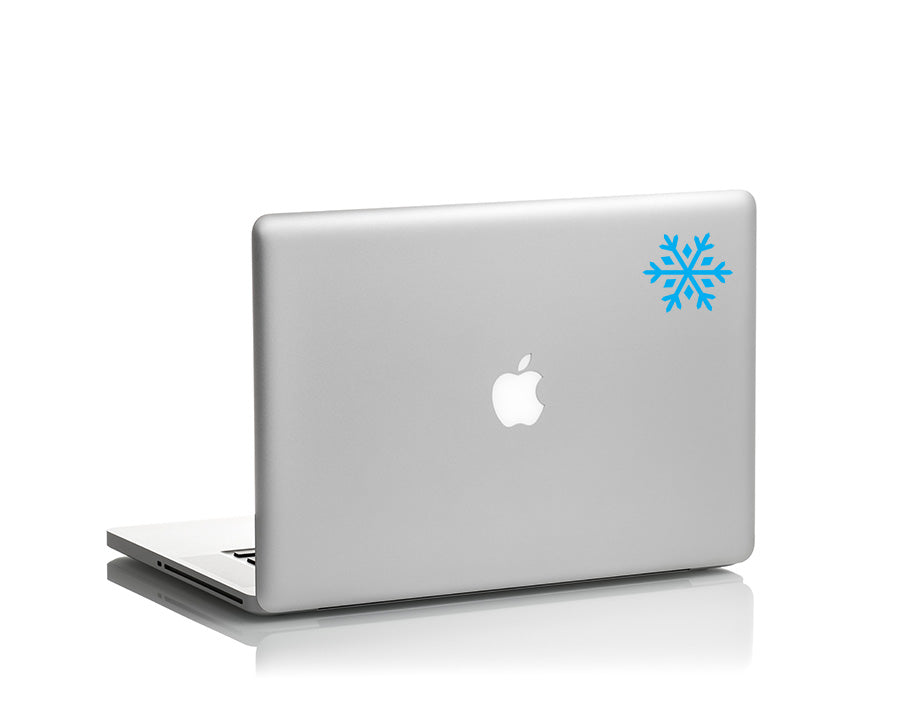 snowflake vinyl decal on laptop