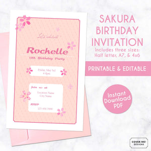 pink sakura cherry blossom kids birthday invitation printable and editable digital download
