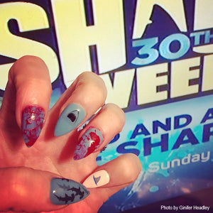 shark week nail art in gray and red