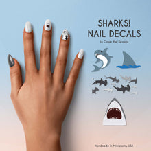 Load image into Gallery viewer, sharks jaws great white shark hammerhead nail decals