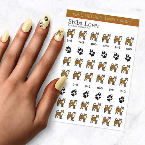 shiba dog nail art decal sheet