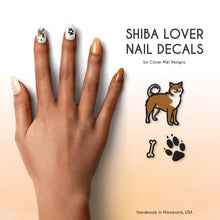 Load image into Gallery viewer, shiba inu dog lover nail decals with paw prints