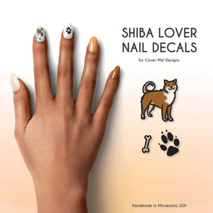 shiba inu dog lover nail decals with paw prints