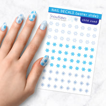 Load image into Gallery viewer, snowflake frozen winter nail art decal sheet