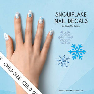 snowflake frozen icy kids nail decals