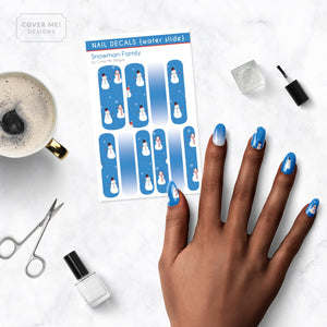 Snowman Family - Long Water Slide Nail Decals