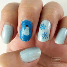 Load image into Gallery viewer, Ice blue winter nail art with snowman and snowflake nail stickers