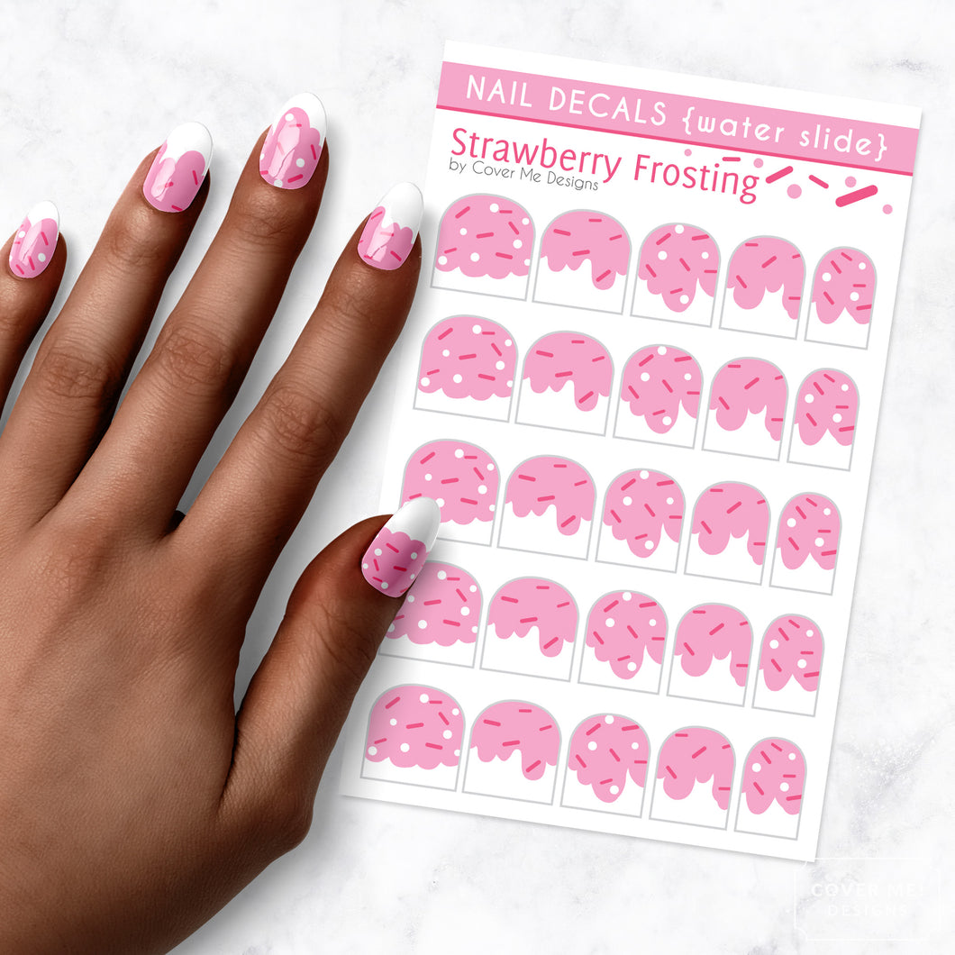 strawberry frosting nail art decal sheet