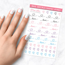 Load image into Gallery viewer, true love nail art decal sheet