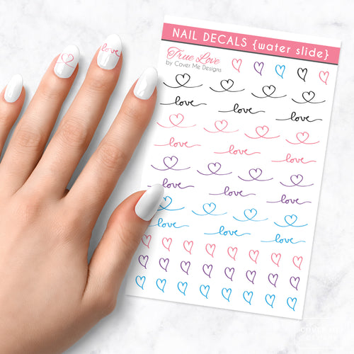 true love nail art decal sheet
