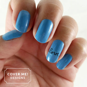 blue cursive handwritten love nail art