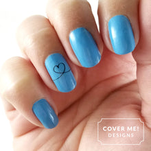 Load image into Gallery viewer, blue cursive heart nail art