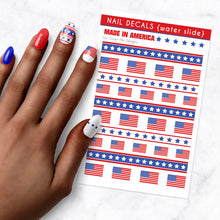 Load image into Gallery viewer, american flag nail art decal sheet