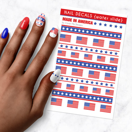 american flag nail art decal sheet
