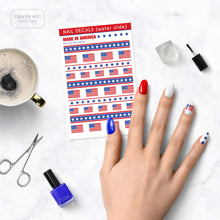 Load image into Gallery viewer, american flag nail decals on table