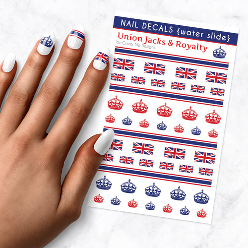 union jack flags and royalty crown uk british nail art decal sheet