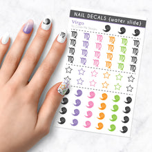 Load image into Gallery viewer, virgo zodiac nail art decal sheet