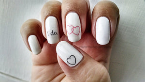 wedding nail art with nail decals