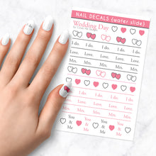 Load image into Gallery viewer, wedding day nail art decal sheet