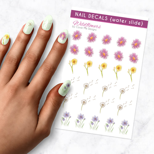 wild flower nail art decal sheet
