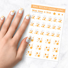Load image into Gallery viewer, wish upon a star hanging star nail art decal sheet