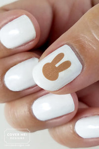 brown bunny silhouette nail art