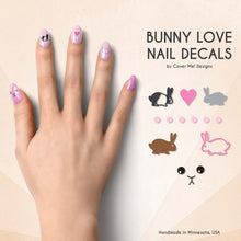 Load image into Gallery viewer, bunny love nail decals with pet rabbit nail art
