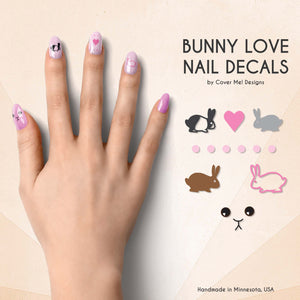 bunny love nail decals with pet rabbit nail art