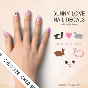bunny love kids nail decals