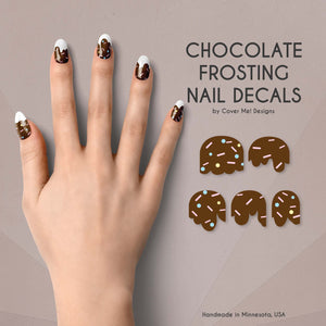 dripping chocolate frosting nail decals with sprinkles