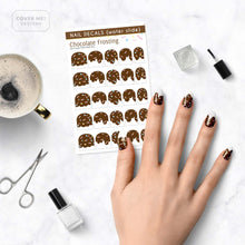 Load image into Gallery viewer, dripping chocolate frosting nail decals with sprinkles on table