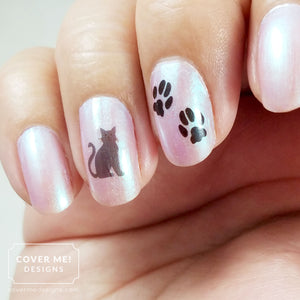 gray cat and paw print nail art decals