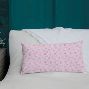pink cherry blossom sakura long pillow on white bed