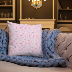 pink cherry blossom sakura throw pillow on blue blanket