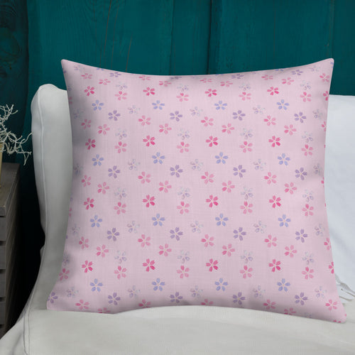 pink cherry blossom sakura throw pillow on a white bed