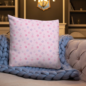 pink cherry blossom sakura large  pillow on blue blanket