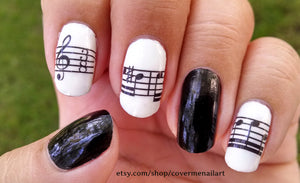 black and white sheet music nail art