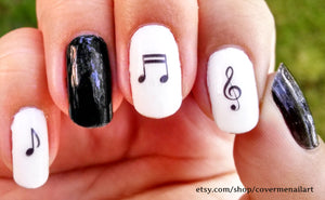 black and white music note nail art