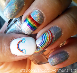 rainbow nail art on holographic glitter nail polish