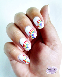 rainbow stripe nail art decals