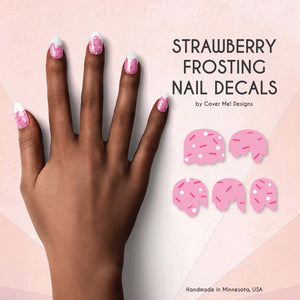 strawberry frosting pink nail decals with sprinkles