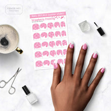 Load image into Gallery viewer, strawberry frosting pink nail decals with sprinkles on table