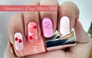 valentine's day nail art with heart nail decals