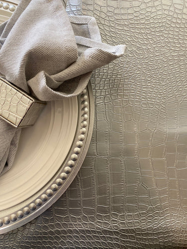 Silver Crocodile Faux Leather Tablecloth